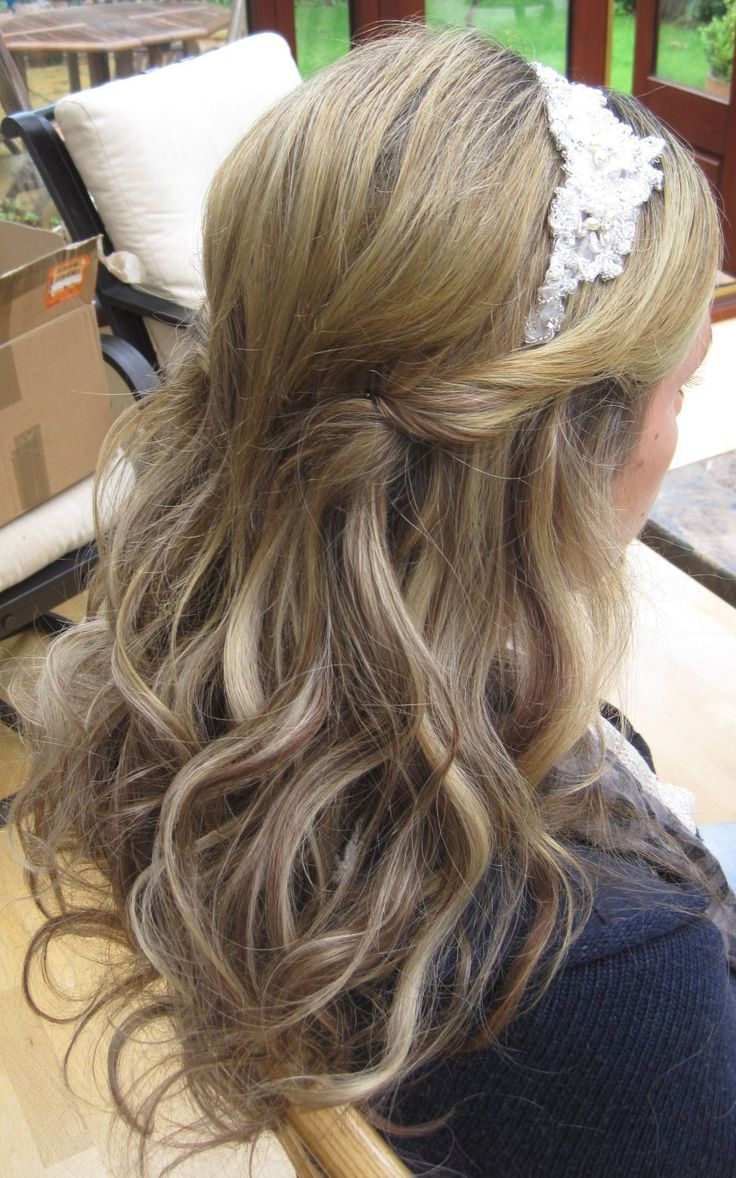 Wedding hair - half up half down with headband.  Perfect way to wear some of the lace from mom's dress, and still room for my veil.