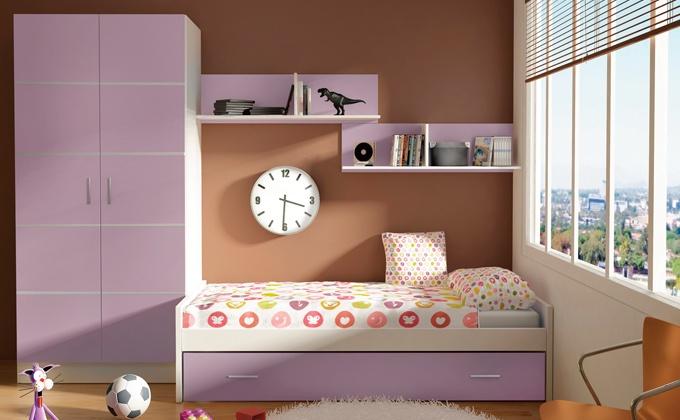 Muebles habitaci n de ni a lila cama nido para dormitorio for Camas nidos para ninas