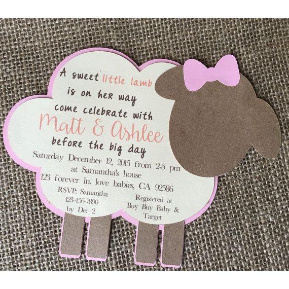 Lamb Baby Shower Invitation, Lamb Invitation, Lamb Baby, Lamb Baby Shower,  Lamb Baptism Invitation, Lamb Baby Shower Decorations, Lamb