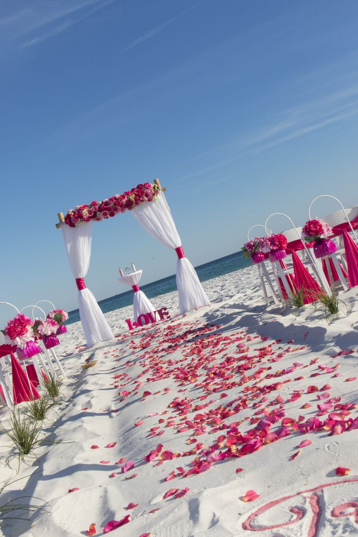 Beach weddings fort walton beach wedding packages sunset beach - Our Barefoot Bliss Beach Wedding Packages In Hues Of Light Pink And Hot Pink Was The