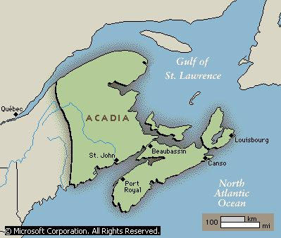 Acadian fatherland: Acadia (French Acadie), French colony in northeastern North America between 1604 and 1713. The origins of the name Acadia have been traced to Mi'kmaq words and to the Latin word arcadia (a rustic paradise).