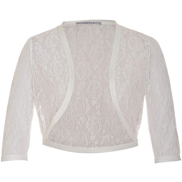 Chesca Lace Bridal Bolero ($120) ❤ liked on Polyvore featuring outerwear, jackets, bolero, cardigans, tops, white cropped jacket, lace bolero shrug, bolero shrugs, white lace jacket and white bolero jacket
