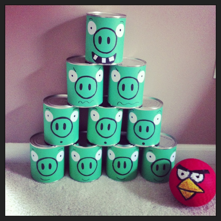 Angry birds bowling set made with empty formula cans