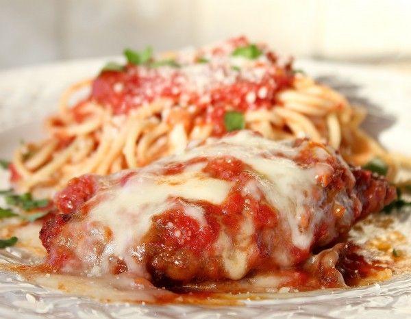 Italian Chicken Parmesan Recipe with Spaghetti and Red Marinara Sauce