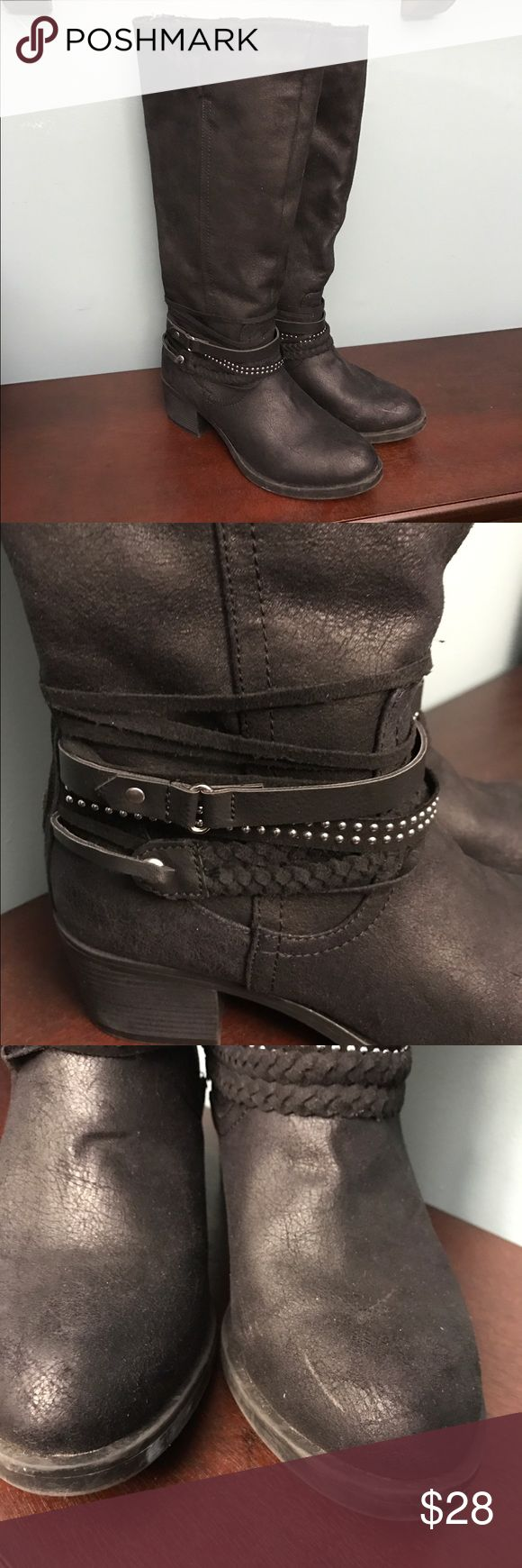 SO boots Khols Brand boots. Man made materials with cool detailed straps. Worn once, pic 3 shoes a superficial scuff on boot to right. Very clean almost like new.💥💥SALE 💥💥💥 SO by khols Shoes Winter & Rain Boots