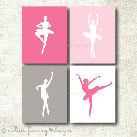 Set of four ballet dancer Art Prints | Little Girl's and Nursery Room Decor (Girl36)
