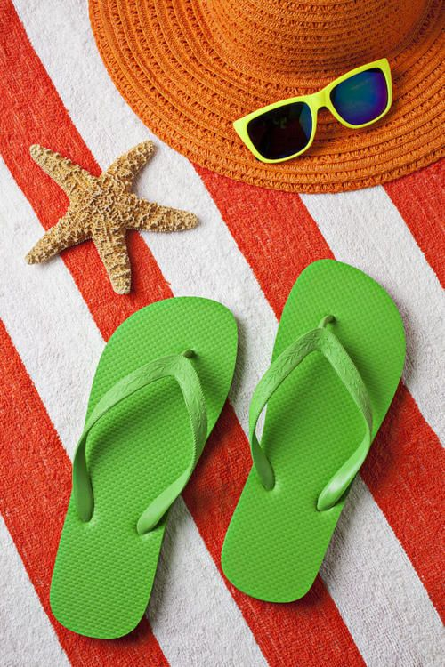 Summertime! - flip flops, hat, glasses, beach towel, starfish