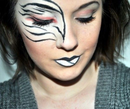 Zebra Halloween Makeup Tips and Tutorials love the red! maybe try it with green for halloween