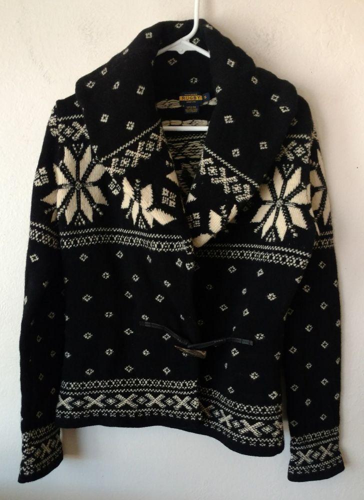 Ralph Lauren Rugby Wool Shawl Collar Cardigan Sweater Black White Mens Sm Nordic #RalphLaurenRugby #Cardigan