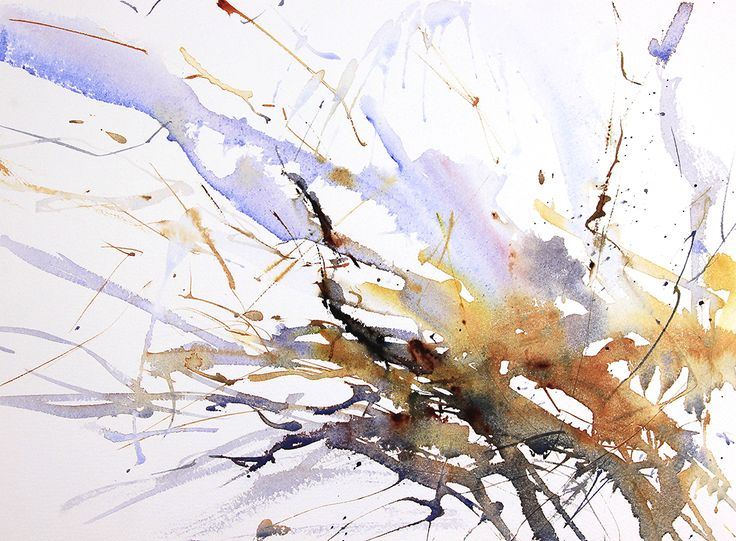 Winter Trees number 8 expressive semi abstract watercolour by Adrian Homersham