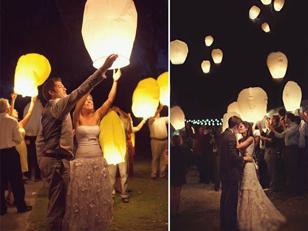Reception Finale: tie fishing line to the lanterns so they can be in the sky, but they won't drift off anywhere and will come back down once the fires are extinguished.
