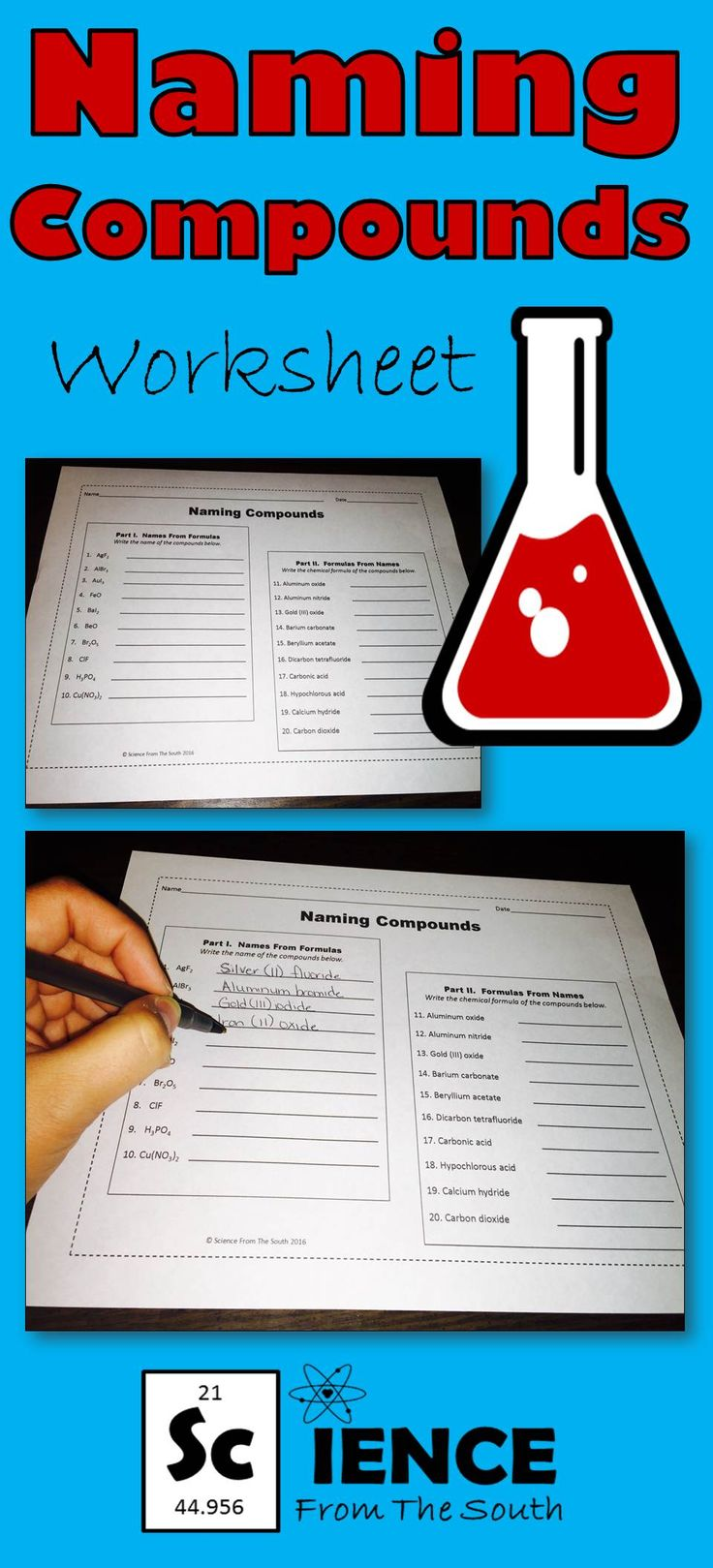 Quick worksheet to review or assess your students' understanding of naming compounds.