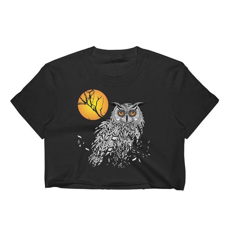 Owl Bird Head as Halloween Symbol Women's Crop Top – Ziffu