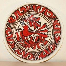 Farfurie ceramica intinsa, cu pasare Corund 21,5 cm