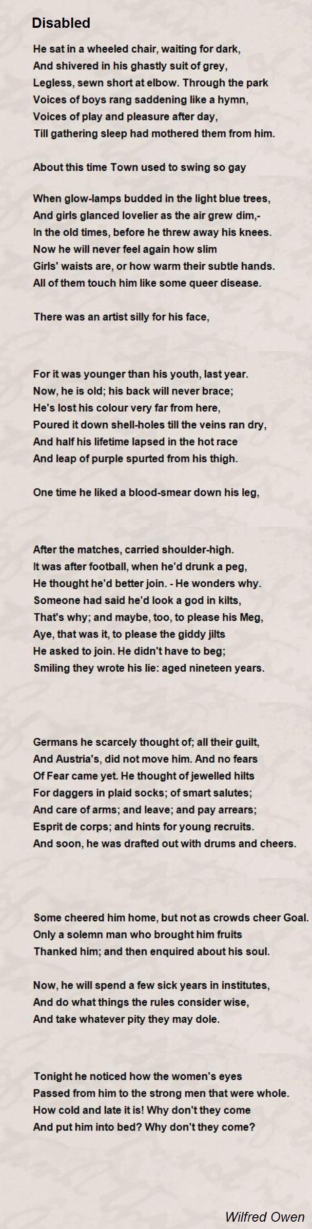 Disabled Poem by Wilfred Owen - Poem Hunter