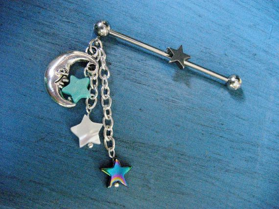 Industrial Piercing Barbell Scaffold Bar Barbell Star Moon Charm Dangles