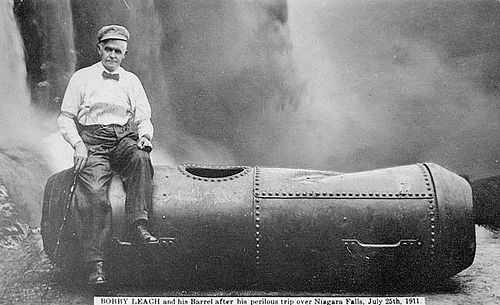 In 1911, Bobby Leach survived a plunge over Niagara Falls in a steel barrel. Fourteen years later, in New Zealand, he slipped on an orange peel and died.