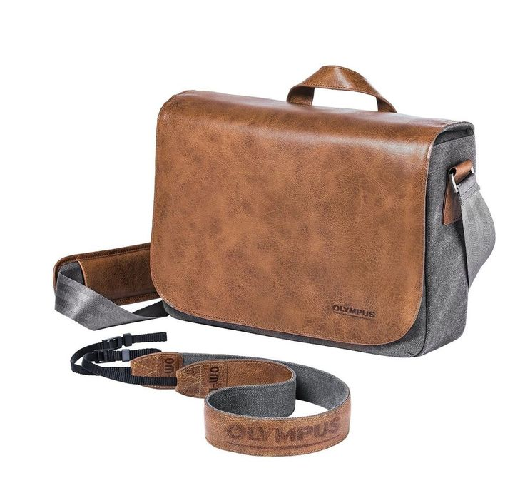 Olympus OM-D Leather Messenger Brown Camera DSLR bag Fashioned real leather
