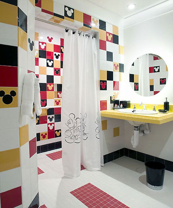 15 Cheerful Kids Bathroom Decor Ideas 2013 Cheerful Mickey Mouse Kids Bathroom With White Mickey