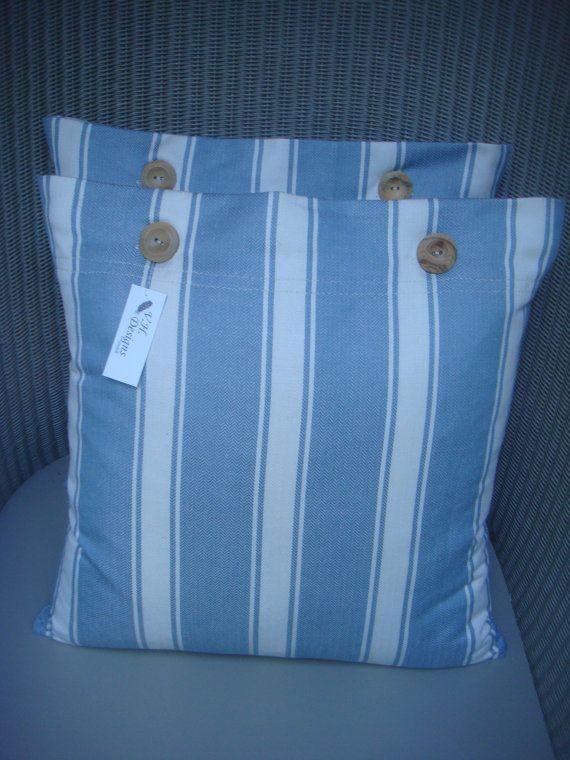 Nautical pillow made in Romo stripe fabric. £10.50
