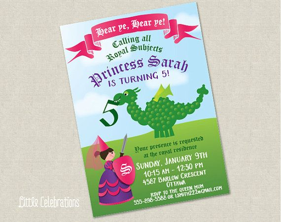 15 best Princess and Dragon Birthday Party images – Dragon Birthday Invitations