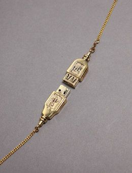 USB Necklace   I actually really want this! I'm forever forgetting my USB :)