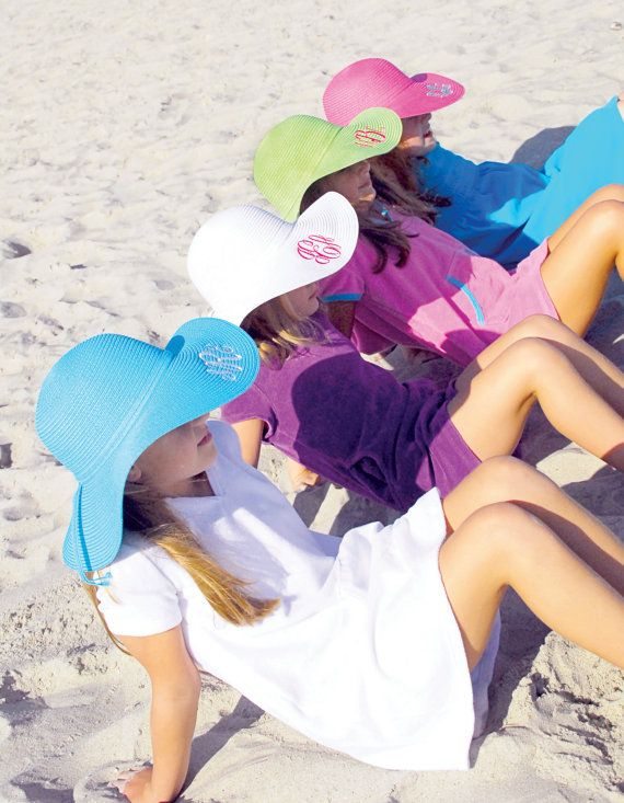 KIDS MONOGRAMMED Beach Hat  Floppy Hat  by SouthernCharmedLife, $21.95