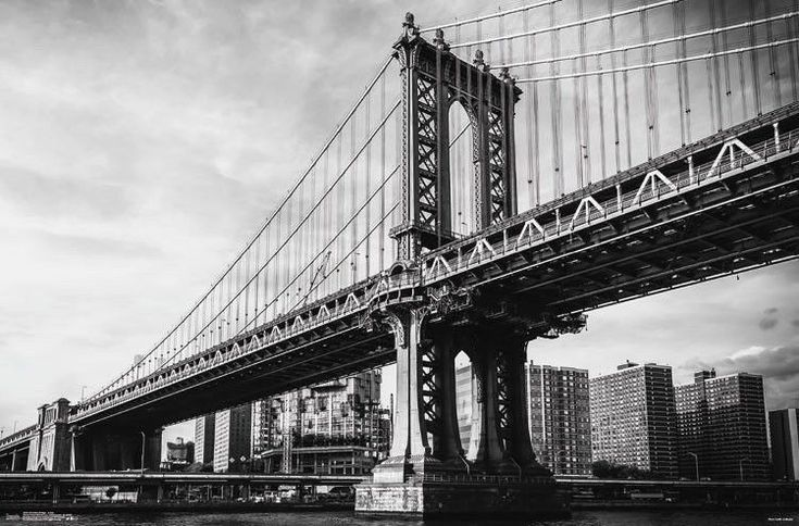 """New Brooklyn Bridge Iconic Poster 22""""x34"""" Sealed Black and White"""