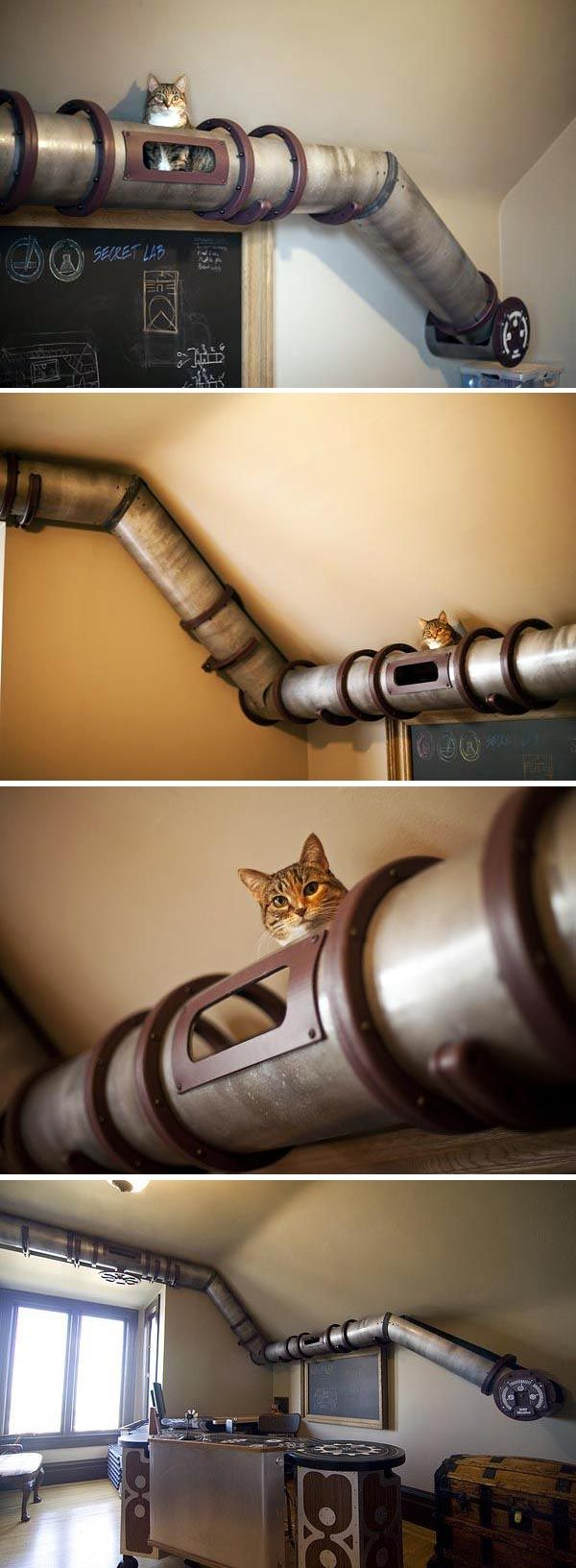 Cats love being up high, climbing, hiding, roaming, looking down ... this tubular design meets all those needs but, in my eyes, is kind of unsightly.  I'd prefer a prettier option.