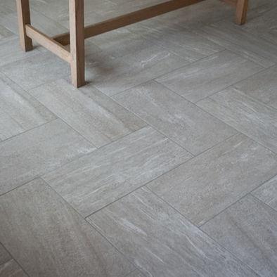 herringbone tile floor design - use 12x12 or 18x18 cut in half