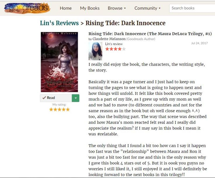 I really love this new review for Rising Tide by Lin Thank you so much for your comments and feedback; I really enjoyed reading them You can check out the full review here: https://www.goodreads.com/review/show/1783210910?book_show_action=false&from_review_page=1&utm_content=bufferc9a8e&utm_medium=social&utm_source=pinterest.com&utm_campaign=buffer