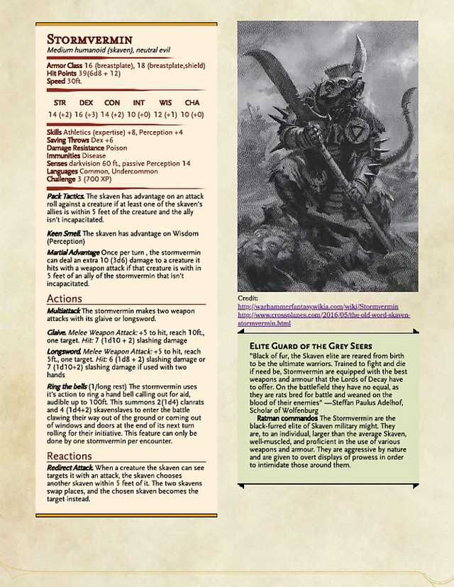 Skaven Monster Stats for DnD 5e (made in Homebrewery) in 2019 | D&D