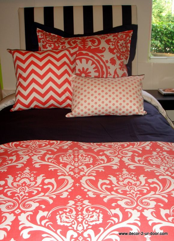 Coral Dorm Room Bedding Sets | Sorority and Dorm Room Bedding