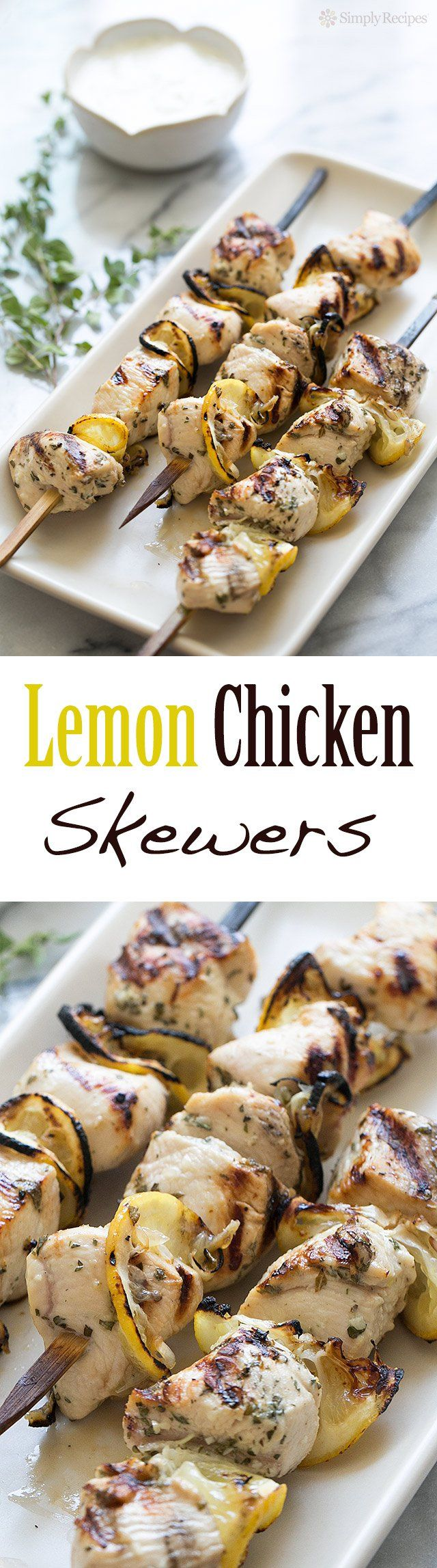 Greek Lemon Chicken Skewers with Tzatziki Sauce ~ Grilled chicken breast skewers, marinated in a yogurt lemon marinade, grilled with lemon slices, served with cucumber yogurt tzatziki sauce. Great for a summer holiday cookout! ~ SimplyRecipes.com