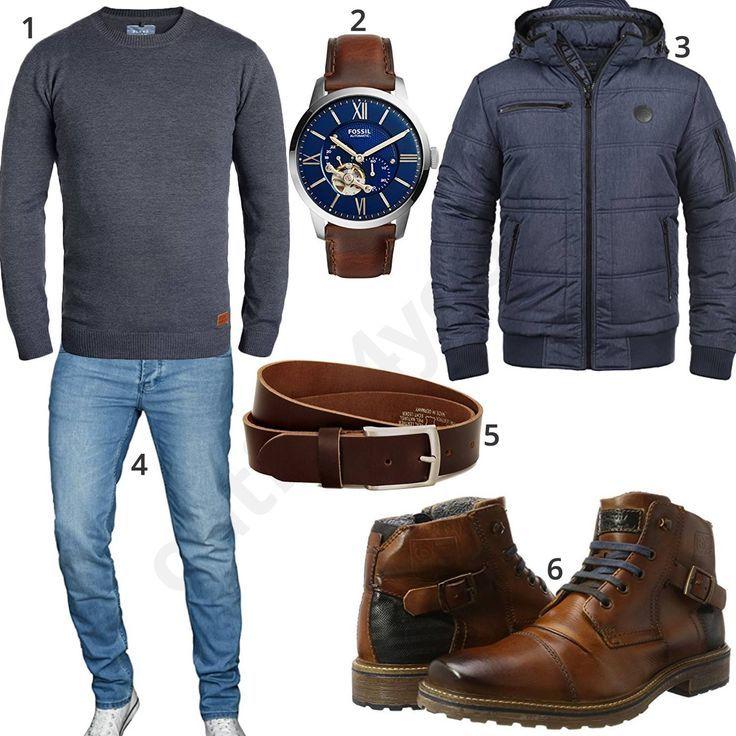Jacke Herrenoutfit blauer PulloverClothes mit Blend und XwiuOPkZT