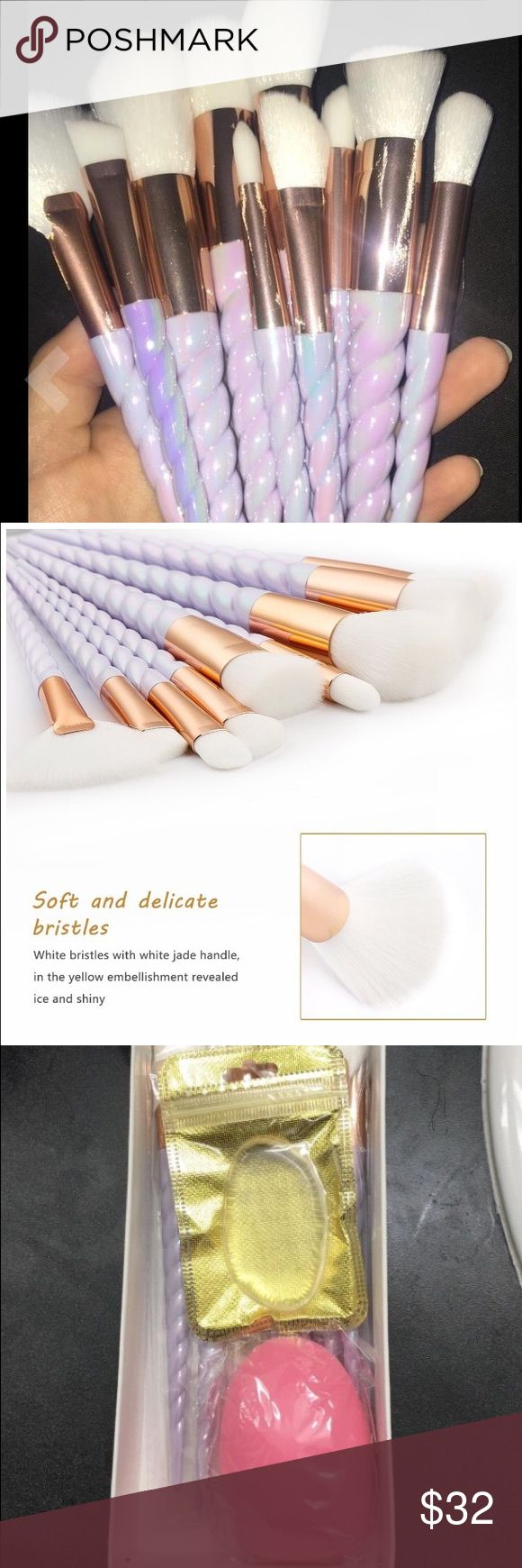 10 Unicorn brushes with silisponge and brush egg 10 Soft brushes with one silisponge and brush egg ! Perfect for all occasions👍🏼 brand new 💕 Makeup Brushes & Tools