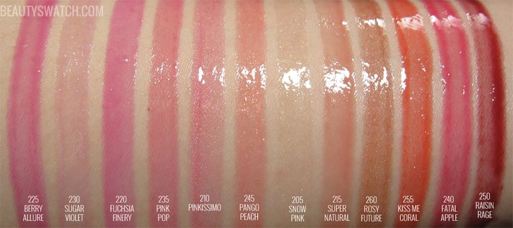 REVLON LUSTROUS LIPGLOSS BERRY ALLURE SUGAR VIOLET FUCHSIA FINERY PINK POP PANGO PEACH SNOW PINK SUPER NATURAL ROSY FUTURE KISS ME CORAL FATAL APPLE RAISIN ROUGE REVIEW PHOTOS SWATCHES