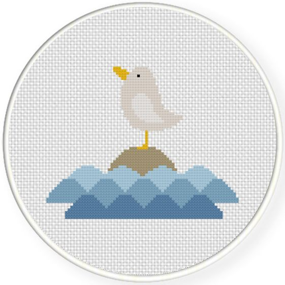 FREE for April 17th 2016 Only - Seagull On The Rock Cross Stitch Pattern