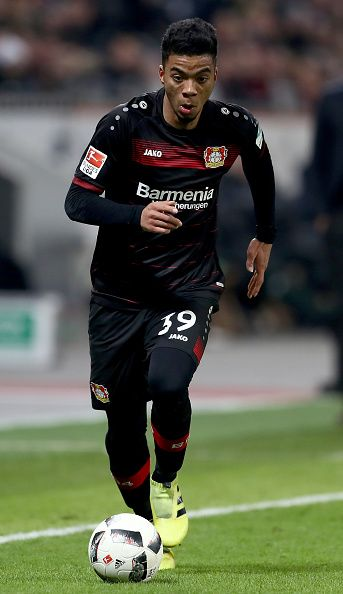 Benjamin Henrichs of Bayer Leverkusen runs with the ball during the Bundesliga match between Bayer 04 Leverkusen and Borussia Moenchengladbach at...