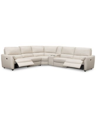 Hansin 6-Piece Leather Sectional with 2 Power Motion recliners & Center Console