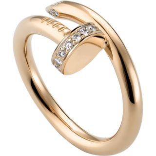 Cartier Juste un Clou ring, 18K pink gold, diamonds.
