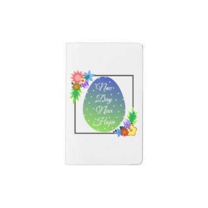 Cute polka dot egg with floral wreath pocket moleskine notebook - holidays diy custom design cyo holiday family