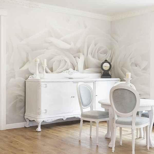 Bilderwelten Vliestapete Breit »Weiße Rosen«