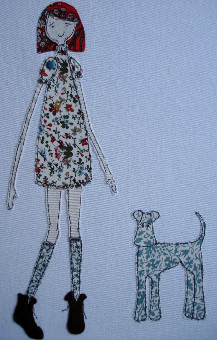 girl and dog machine applique