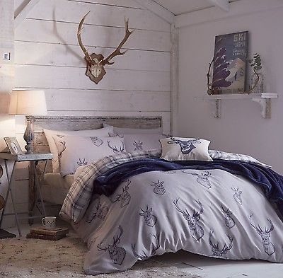 CATHERINE-LANSFIELD-STAG-DEER-TARTAN-CHECK-DUVET-QUILT-COVER-BEDDING-SET-NAVY