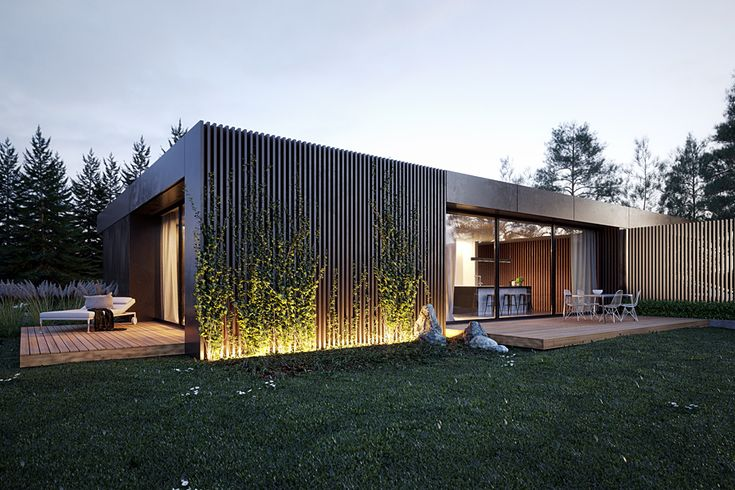 Single family house in Blankensee, flat roof, one story house