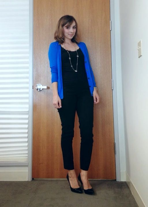all black with blue cardigan, great for work, via Nine-Thirty to Five // Cardigan Hoarder