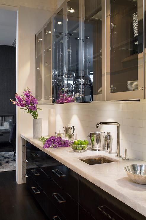 Contemporary Butler S Pantry Features Stainless Steel Upper Cabinets With Glass Front Doors And
