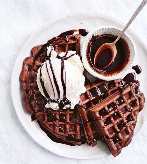 Waffles, chocolate and ice cream lovin'.