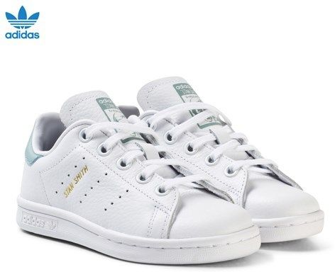 adidas White and Mint Green Kids Stan Smith Trainers